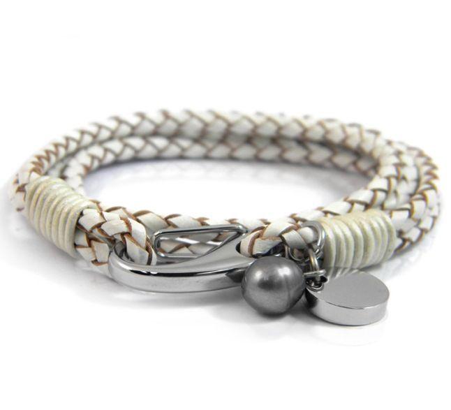 Белый кожаный браслет Inori со сталью и перламутром