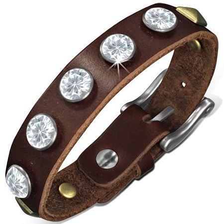 Кожаный браслет с цирконами