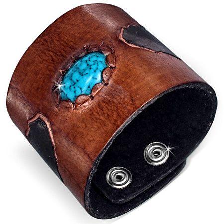 Кожаный браслет с бирюзой